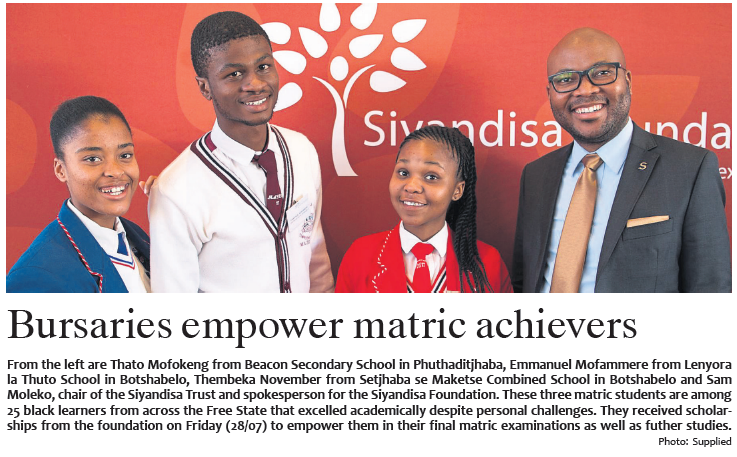 Bloemnuus agrees Siyandisa Foundation bursaries empower matric achievers