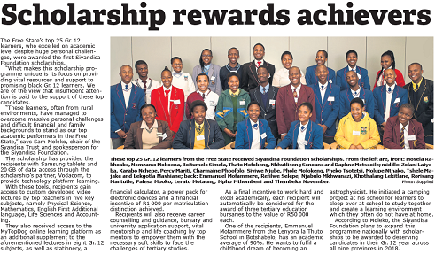 Express newspaper features all 25 Siyandisa Foundation Scholarship recipients